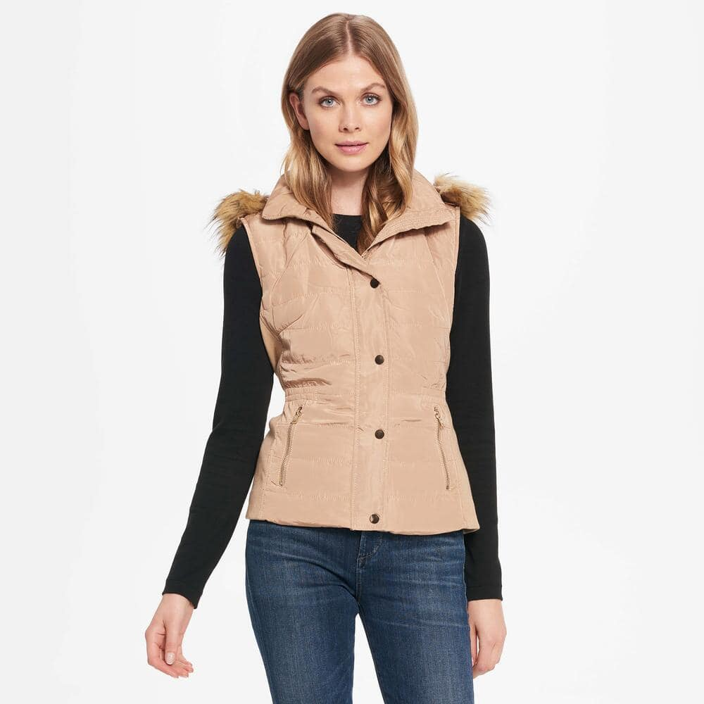 Wilson's Leather Coalition LA Womens Web Buster Coalition La Quilted Vest W/ Removable Faux-Fur for $32.99 + Free Shipping