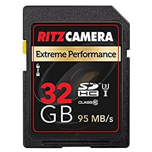 Ritz Gear Extreme Performance SD 32GB 95/45 MB/S Read/Write Speed U3 Class-10 SDHC Memory Card $12 + FSSS