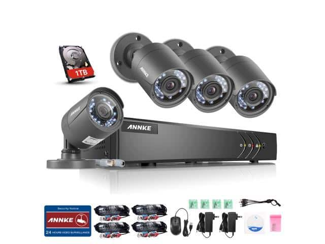 ANNKE 1080P 4CH Lite H.264+ Video DVR Security Camera System with 1TB HDD Pre-installed and (4) 720P 1.0MP Outdoor Fixed CCTV Cameras $89 + FS