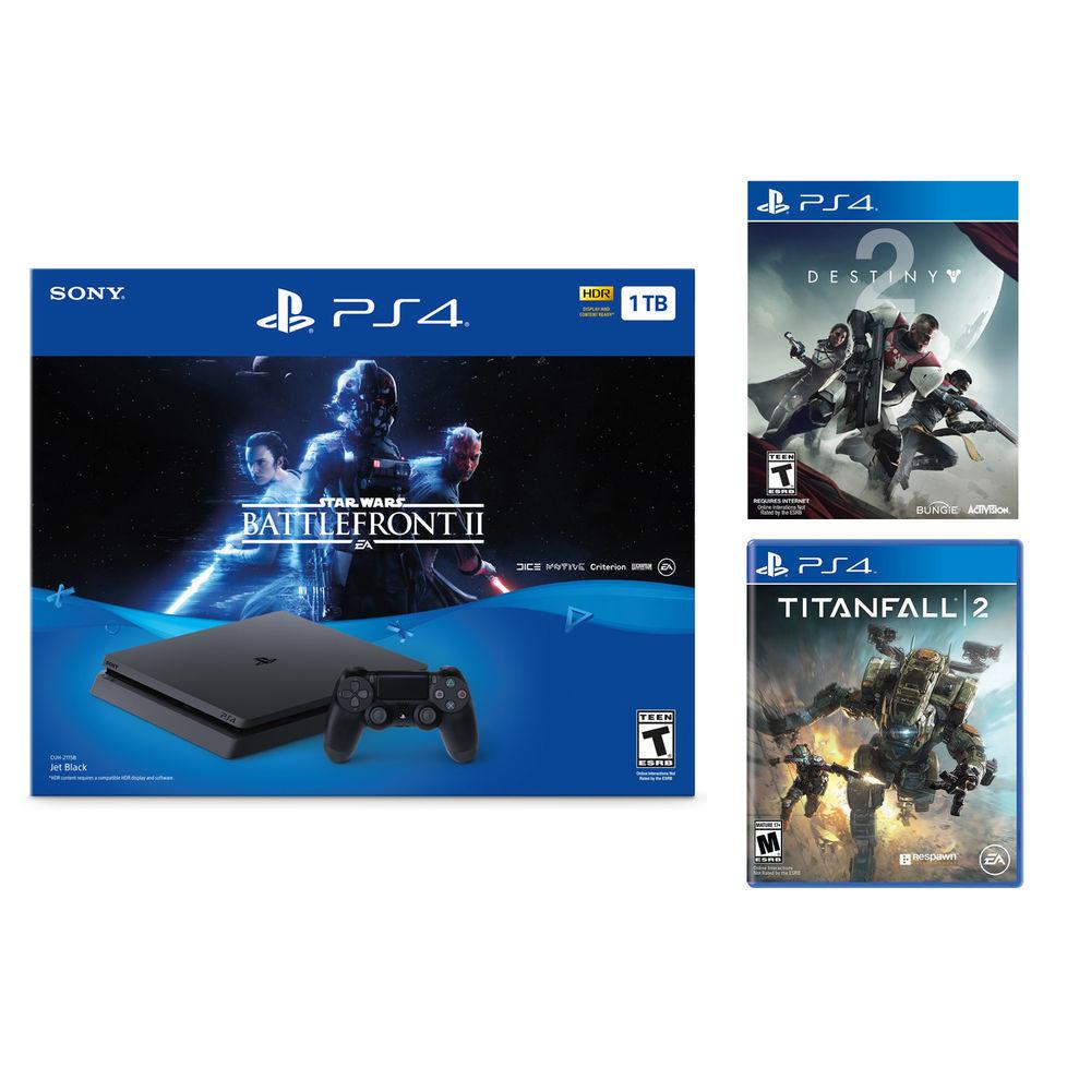 PlayStation 4 Slim 1TB Star Wars Battlefront II Console + Destiny 2+ Titanfall 2 $299 Shipped