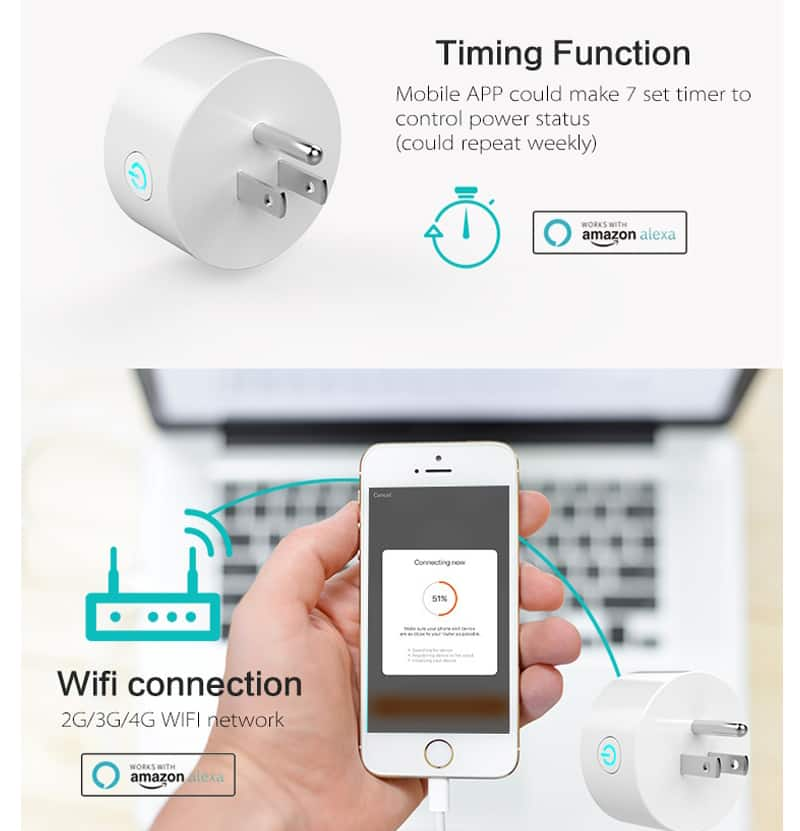 2-Pack Puluz LED3506 Remote Control Smart Socket Works with Amazon Alexa & Google Home $20 Shipped