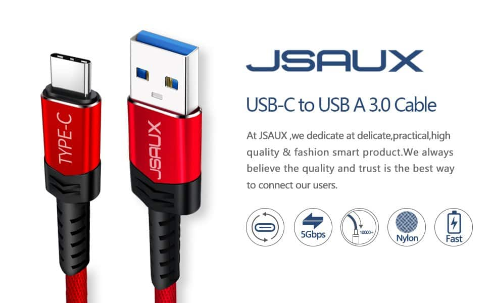 2-Pack 6.6' JSAUX Nylon Braided USB Type C to USB 3.0 Type A Cable - $5.49 + FSSS
