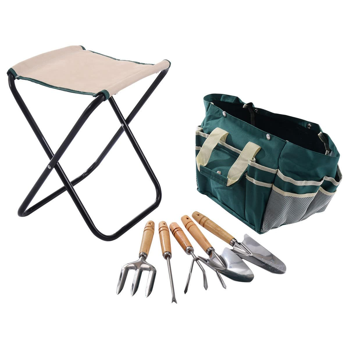 Costway 7-Piece Garden Tool Bag Set w/ Folding Stool $15.95 + Free Shipping