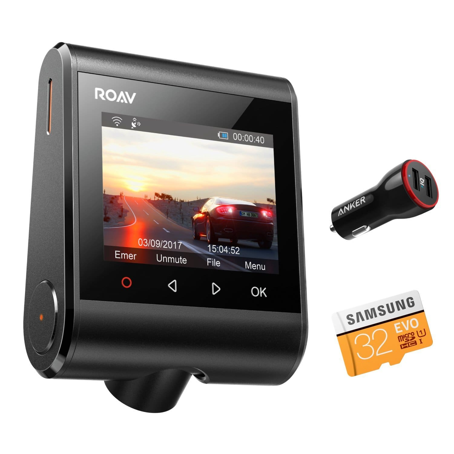 Roav by Anker Dash Cam C1 Pro w/  2K Resolution 2560X1440, Built-In GPS/WiFi & G-Sensor + 32GB microSD Card for $79.99 + FSSS