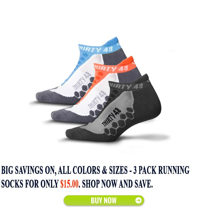 Thirty48 3-Pairs Men's & Women's Running Socks With CoolMax Fabric for $15.00 + Free Shipping