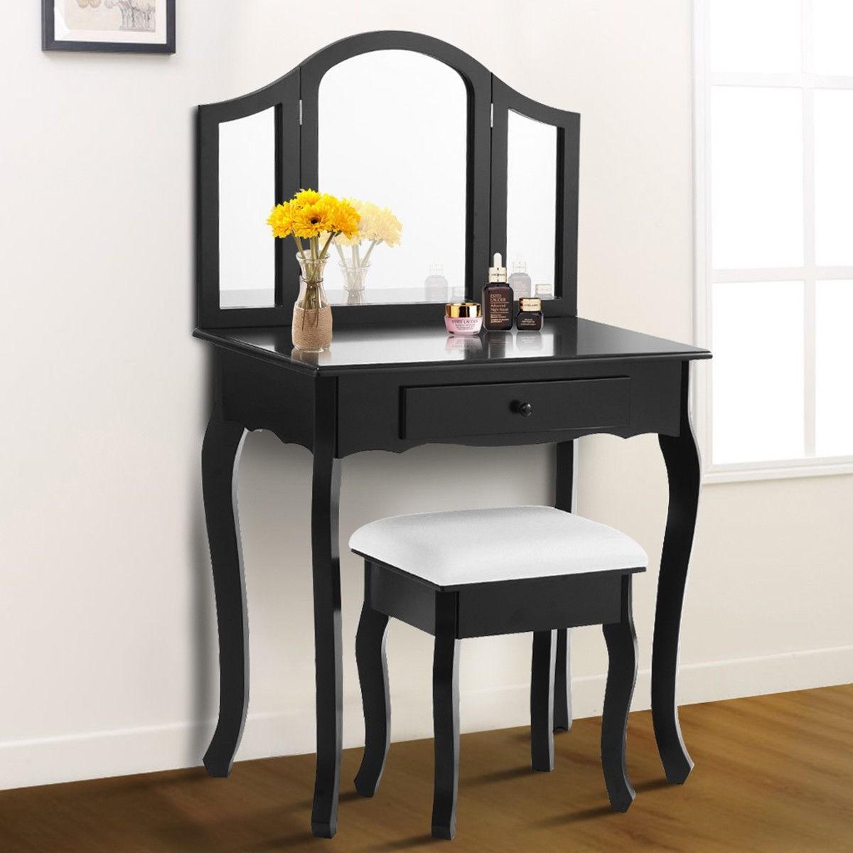 Costway Black / White Vanity Makeup Dressing Table Stool Set $99.95 + FS