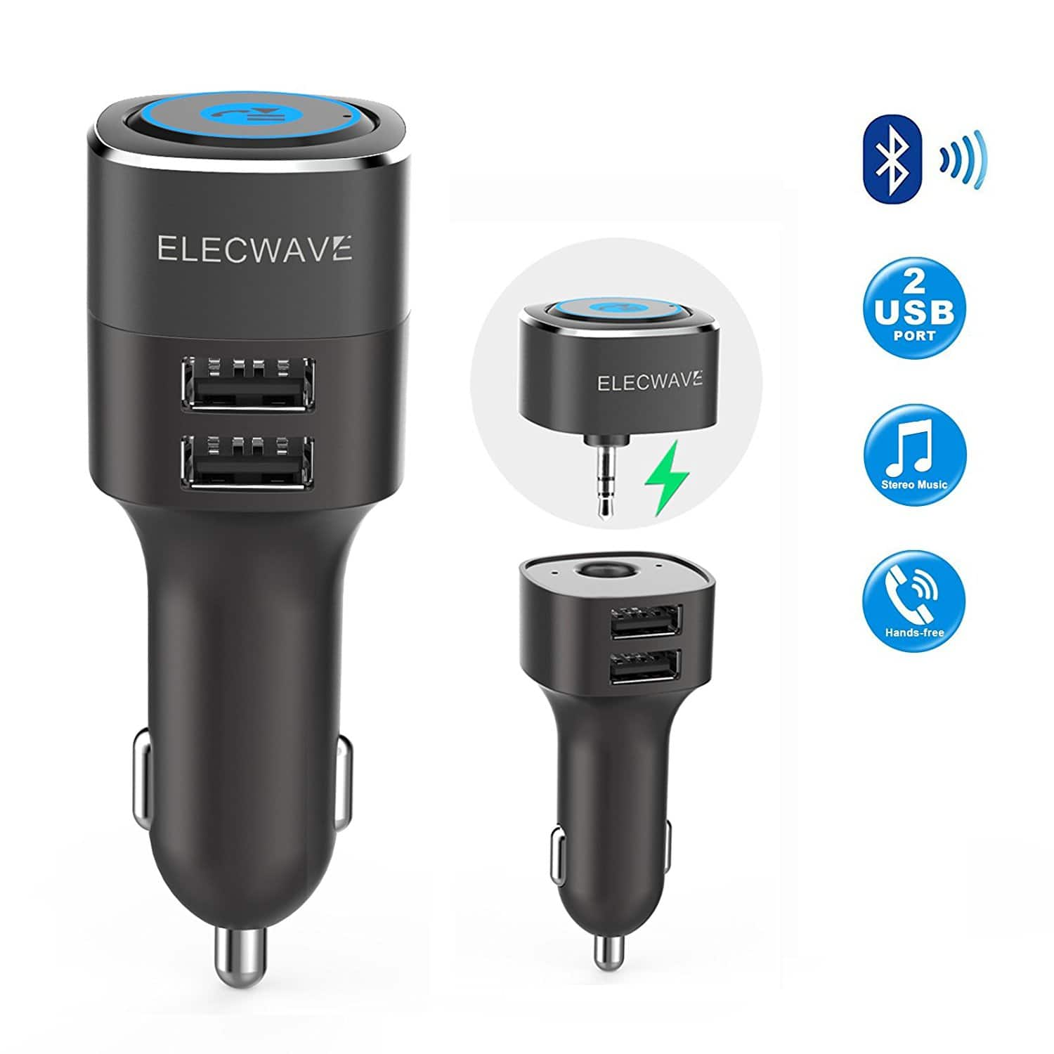 Elecwave Hands-Free Bluetooth Receiver with Dual USB Car Charger $15.99 + Free Shipping