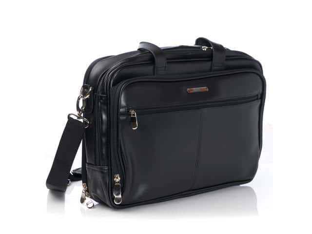 AlpineSwiss Leather Laptop Case Shoulder Strap Portfolio for $54.99 Shipped