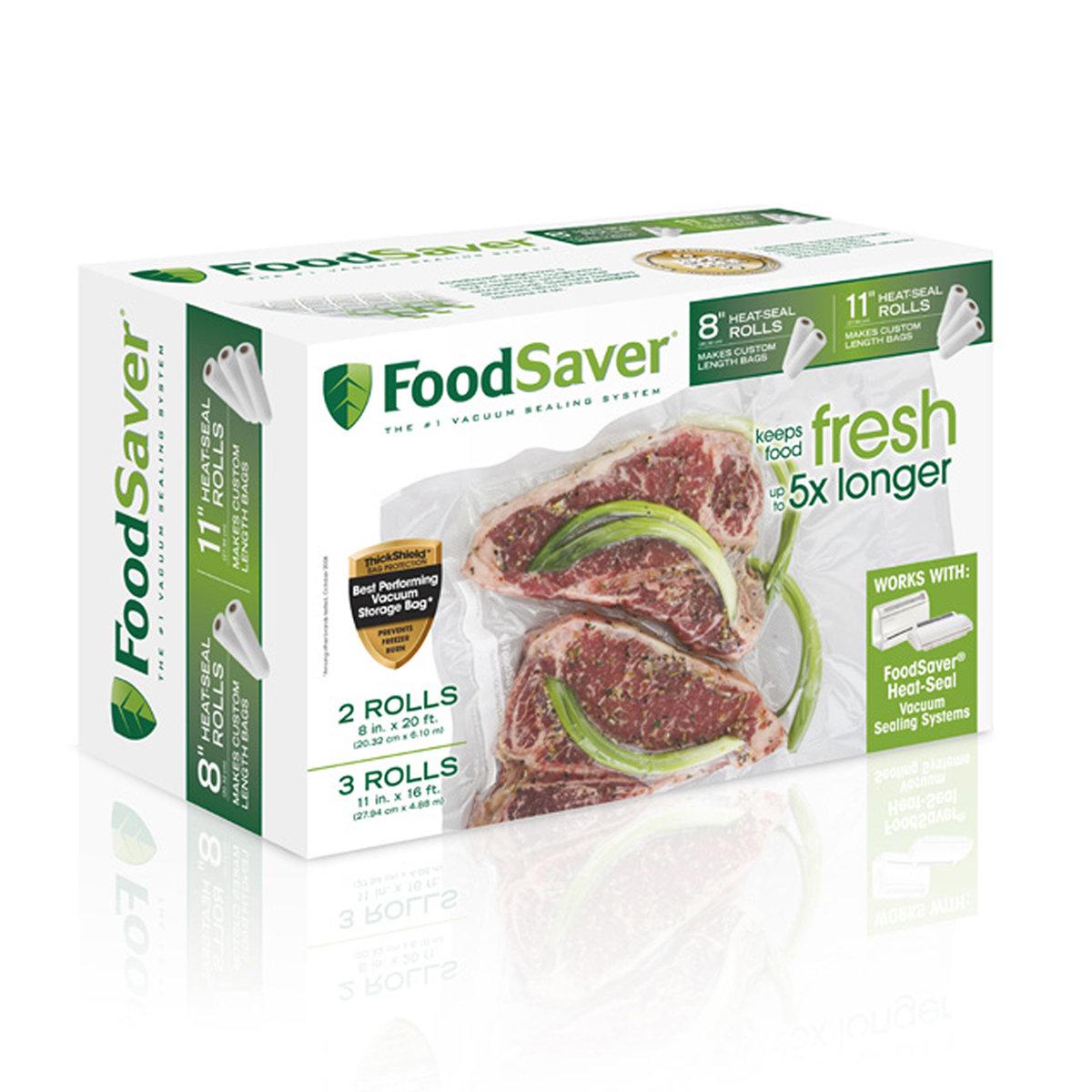 "FoodSaver 5Ct  8"" & 11"" Rolls $23.99 AC + Free Shipping"