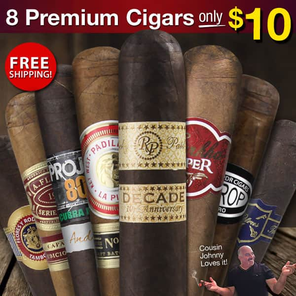 8 Premium Cigars for $10 - Free Shipping