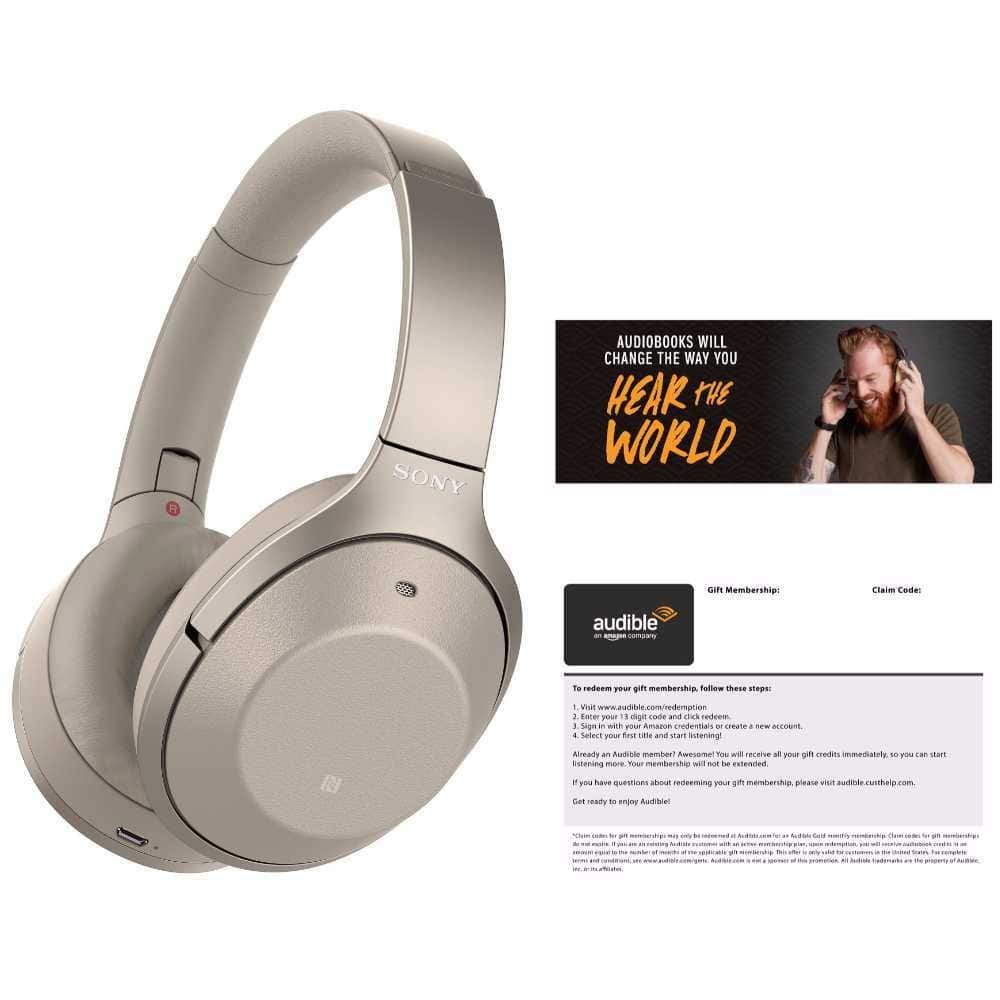 Sony WH-1000XM2 Wireless Noise-Canceling Headphones (Gold) Audible Bundle $298 + Free Shipping