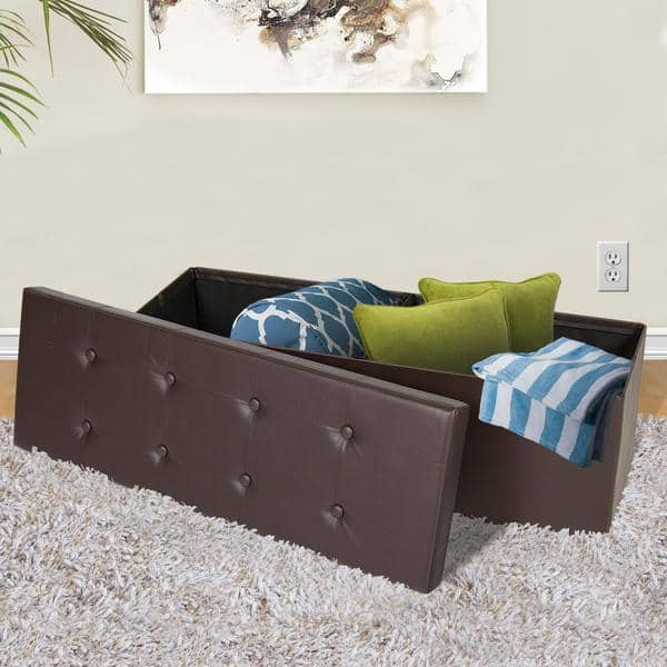 "BCP Faux Leather Ottoman Bench (43.5"" x 15"" x 15"") - Brown $34.99 + Free Shipping"