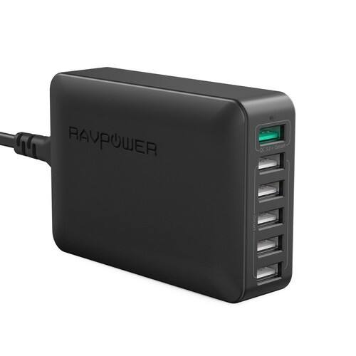 RAVPower 60W 6-Port Quick Charge 3.0 Fast Charger Desktop Charging Station $19.99 AC + FSSS