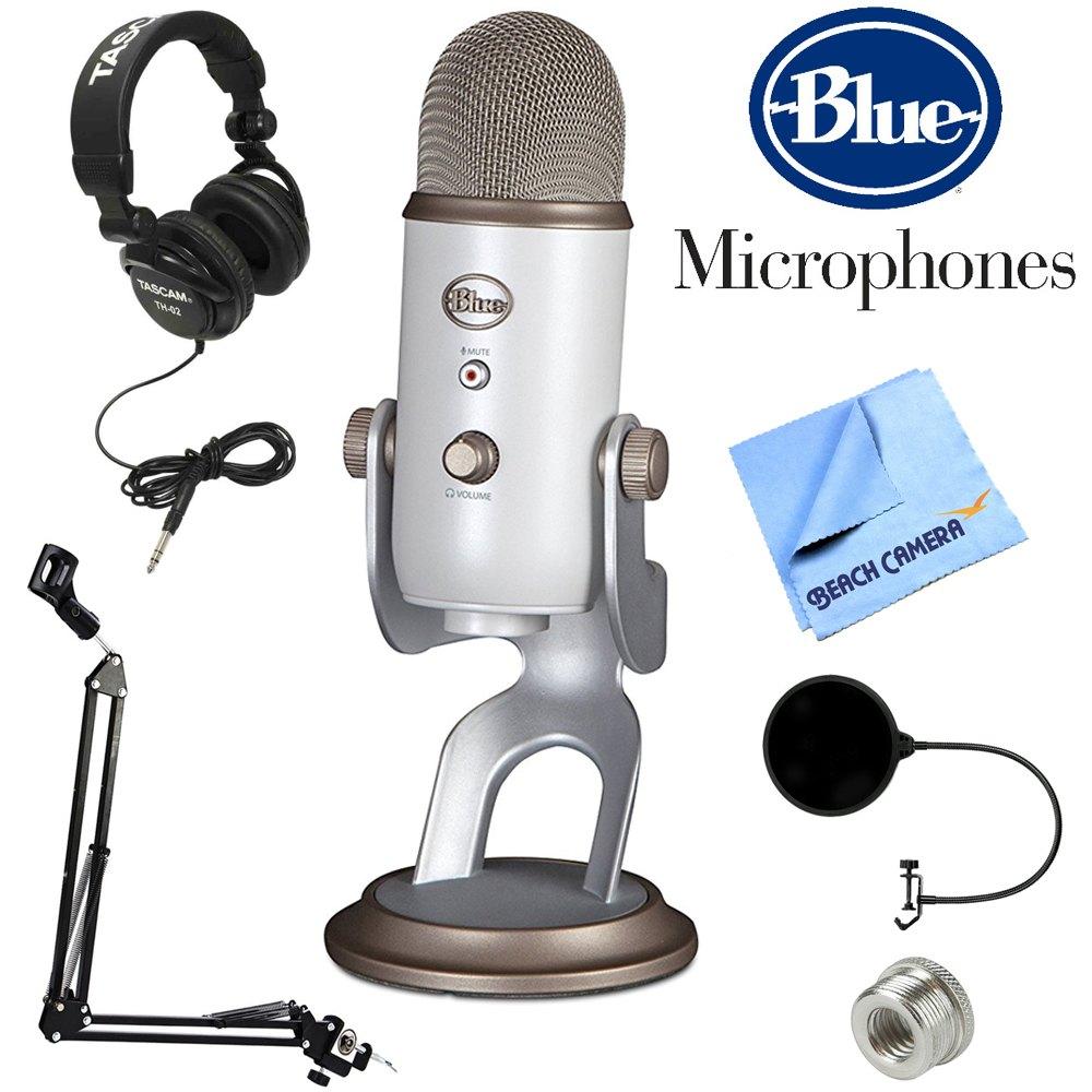 Blue Yeti Microphone W Tascam Pro Headphones Stand Pop Filter Fs Razer Kraken V2 White Deal Image