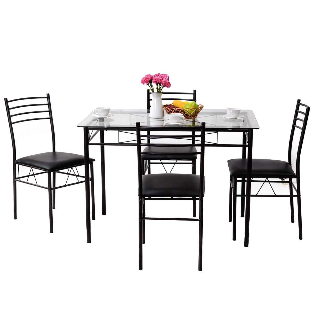 Costway 5-Piece Dining Table & Upholstered Chairs Set $99.95 + Free Shipping
