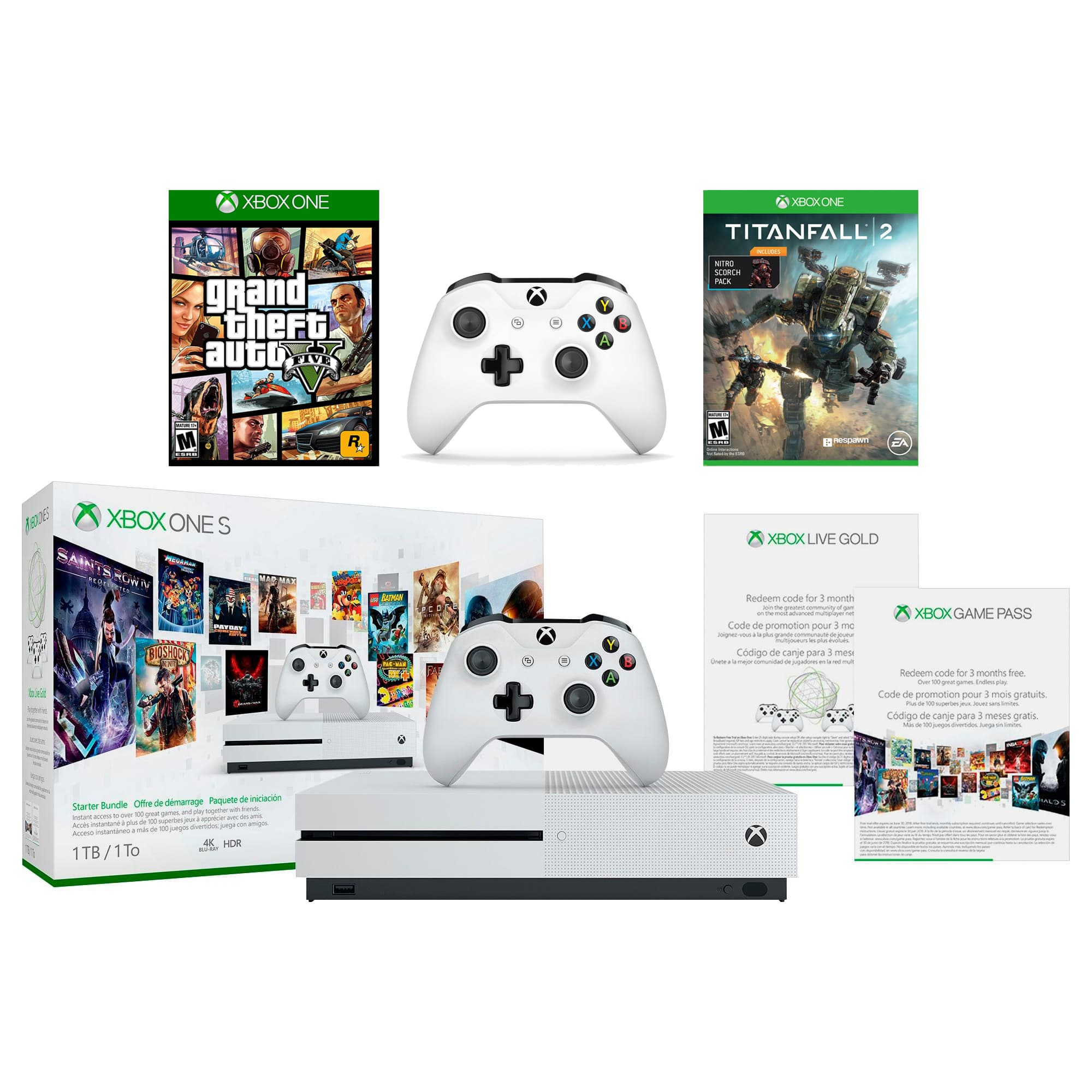 1TB Xbox One S Console + GTA V + Titanfall 2 + Extra Controller