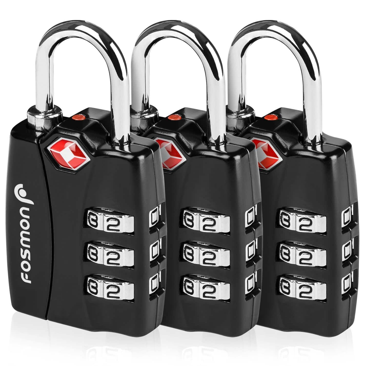 3-Pack Fosmon 3-Digit Combination TSA Approved Luggage Lock $8, Fosmon (CE Certified) Universal Adapter Type G $2 & More + FS