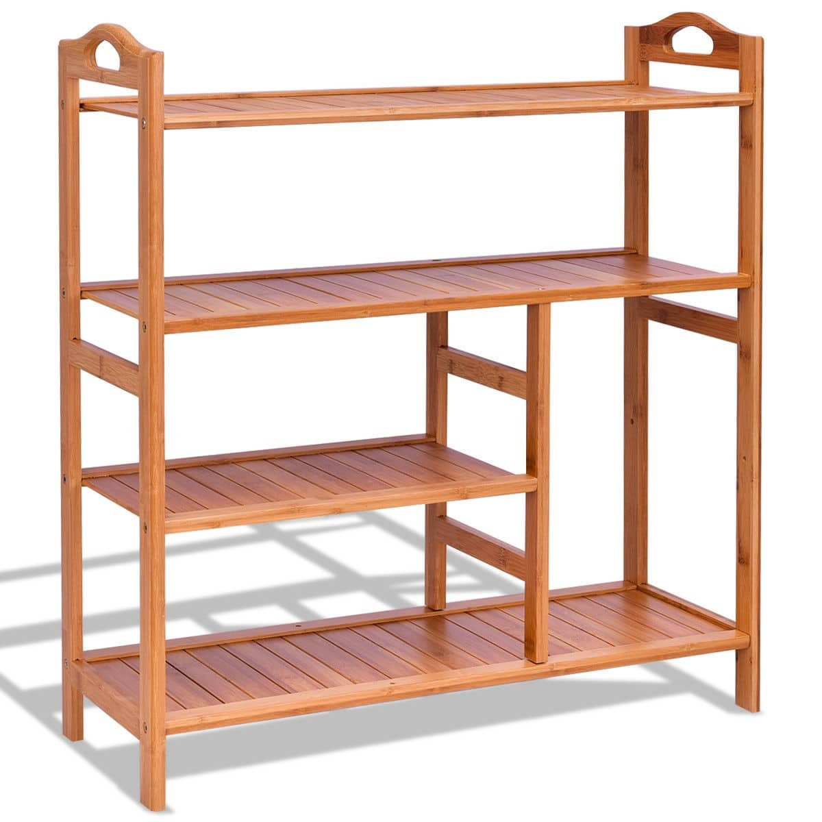 Costway 4-Tier Multi-functional Bamboo Shoe Storage Rack $20.95 + Free Shipping