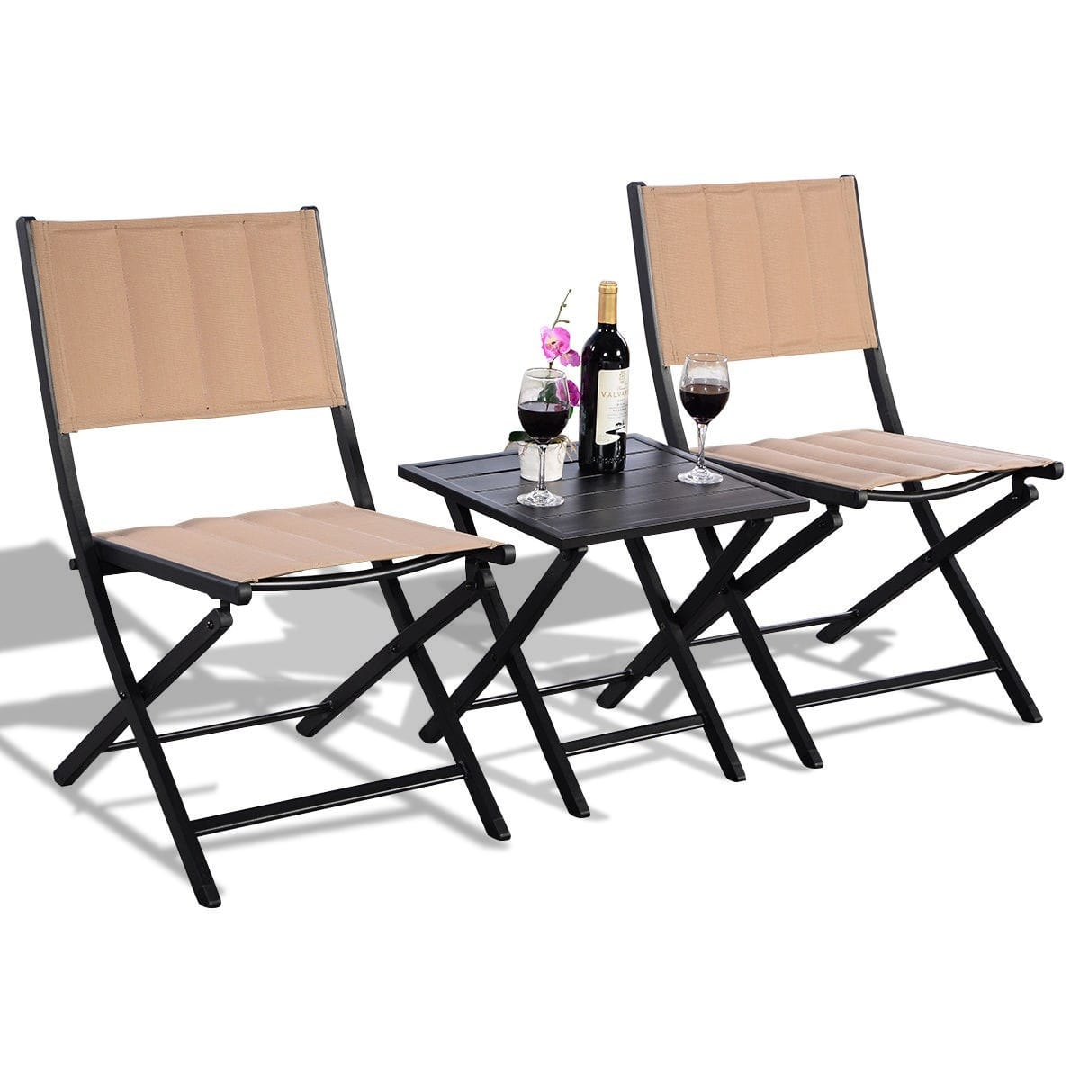 Costway Clearance 3-Piece Folding Bistro Outdoor Table Chairs Set $43.95 + FS
