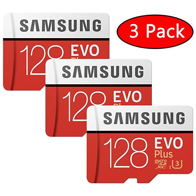 3-Pack Samsung 128GB EVO Plus Class 10 Micro SDXC (MB-MC128GA) for $87.50, Samsung 256GB Evo Plus Class 10 UHS-I microSDXC U3 for $72.95 + FS