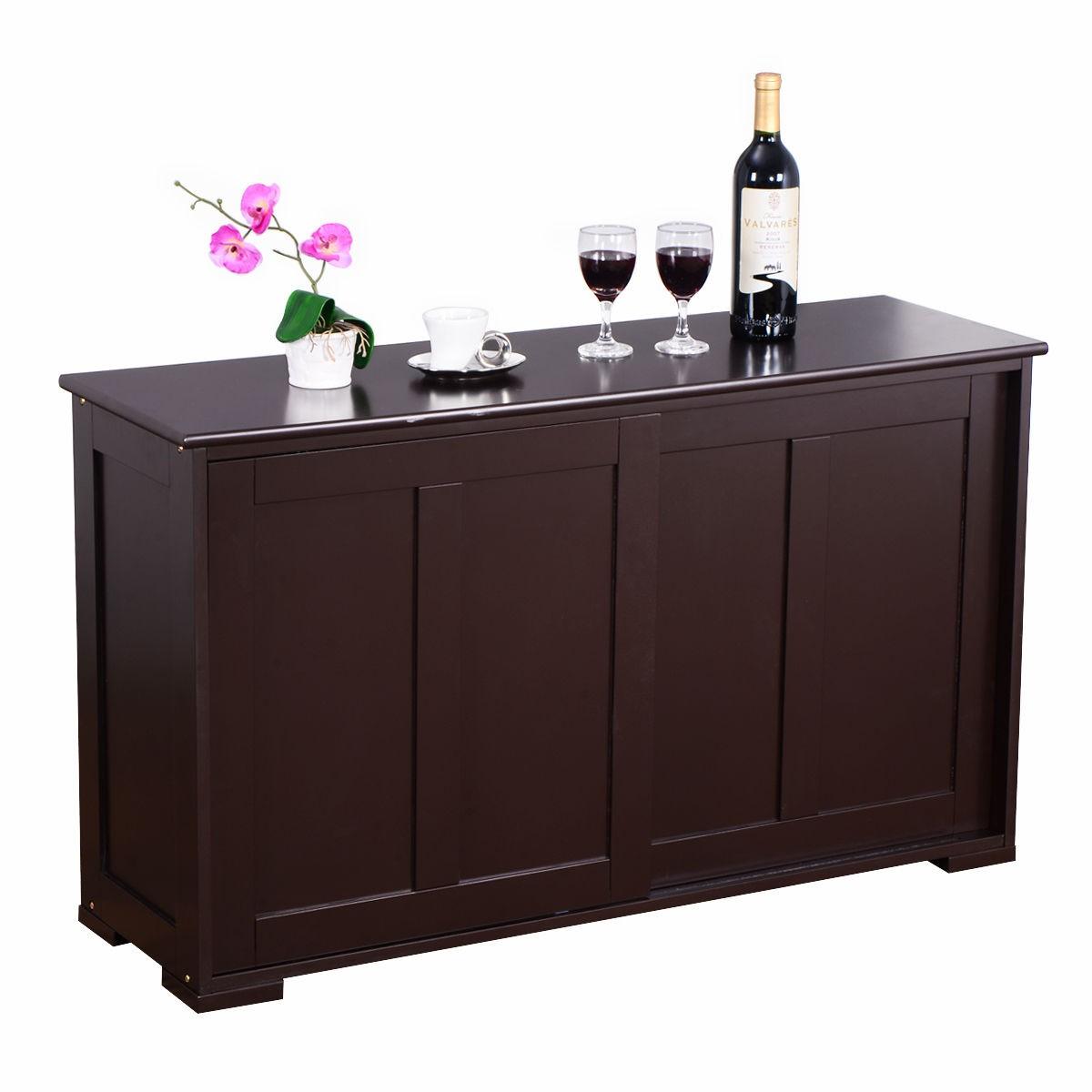 Costway Kitchen Storage Cabinet With Wood Sliding Door 7195