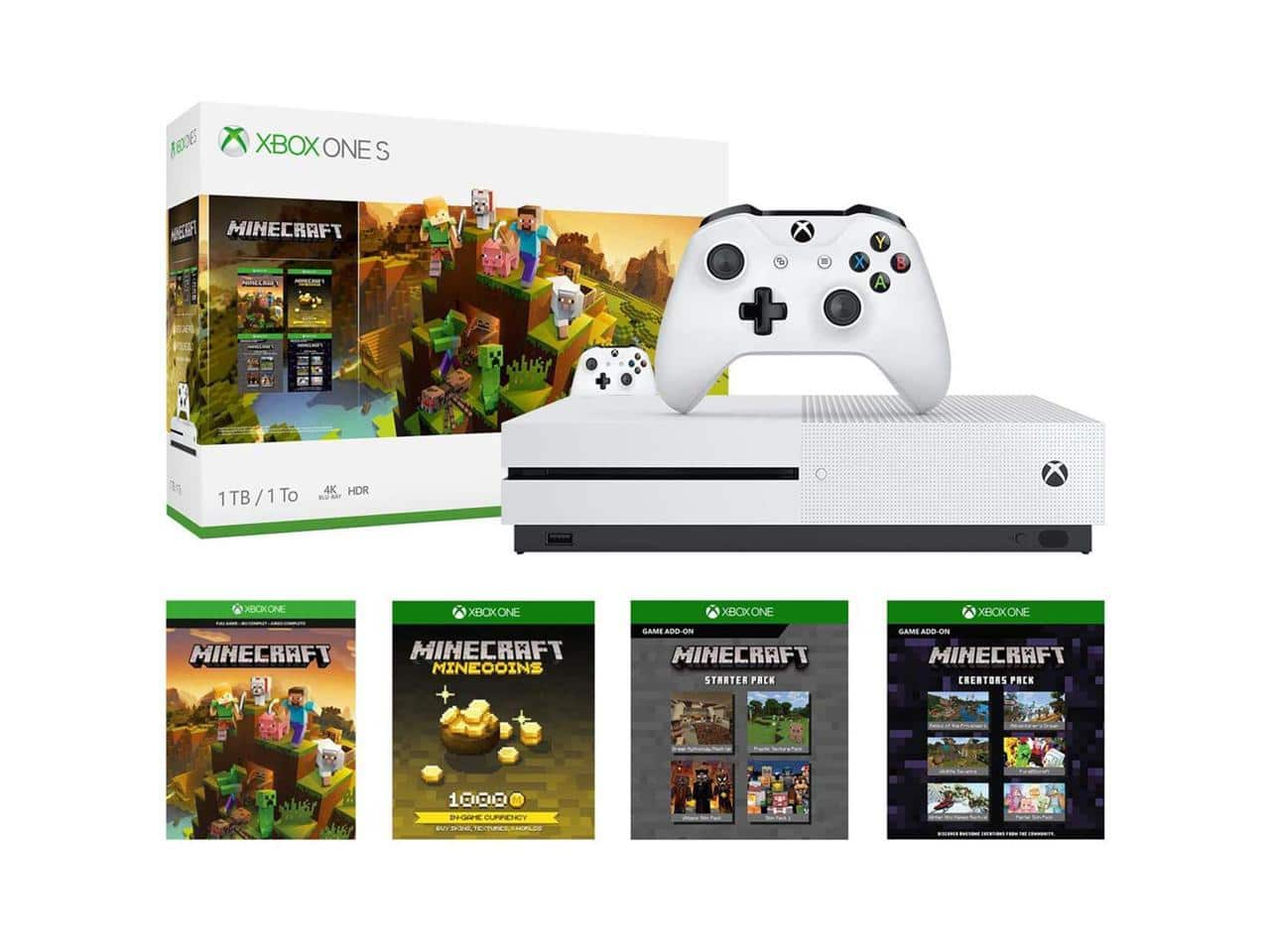 Microsoft Xbox One S 1TB Gaming System and Minecraft Creators Bundle