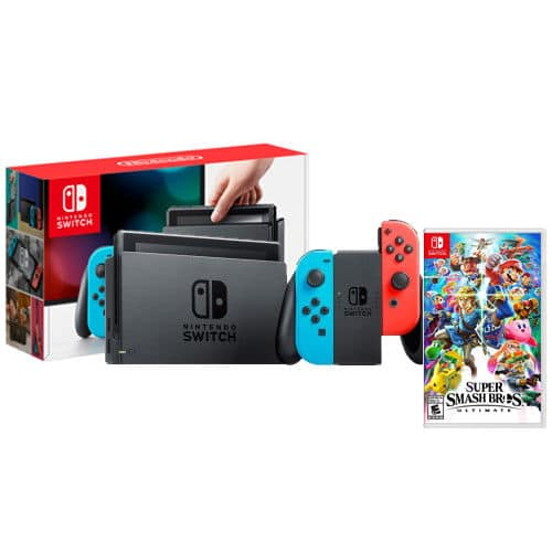 Neon Nintendo Switch + Super Smash Bros Ultimate for $305.99 AC + Free Shipping