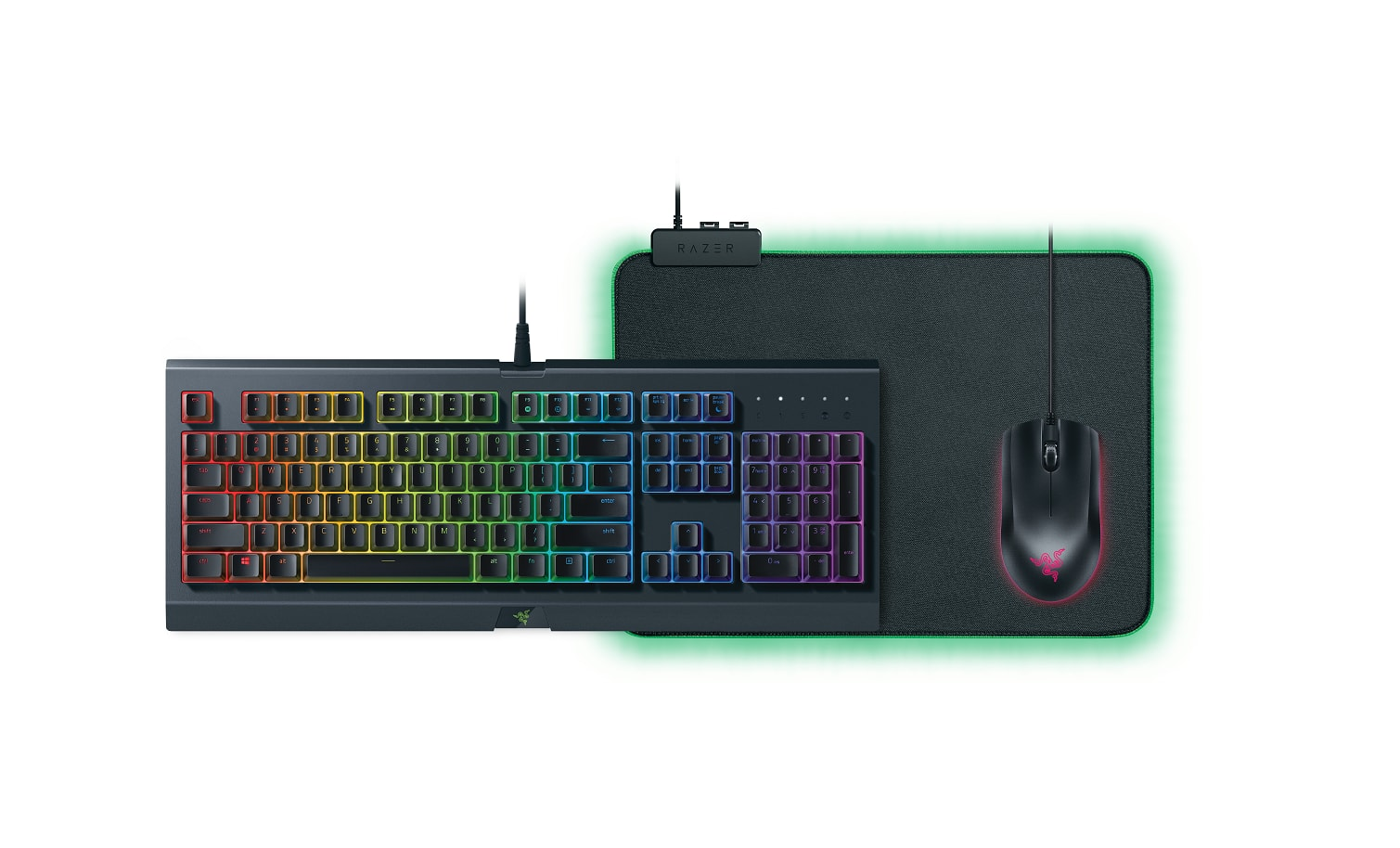 Razer Holiday Chroma Bundle - Includes Cynosa Chroma Gaming Keyboard, Abyssus Essential Gaming Mouse, and Goliathus Chroma Gaming Mouse Pad - $69