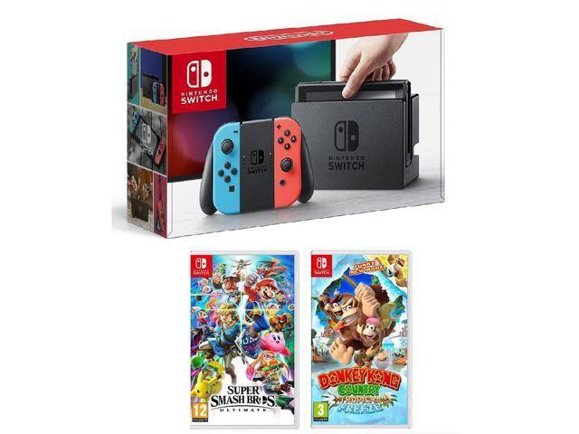 Nintendo Switch + Super Smash Bros. Ultimate + Donkey Kong Tropical Freeze Bundle (Neon) + $40.00 eGift Card - $399.99 + Free Shipping