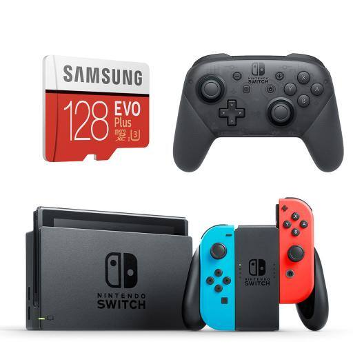 Nintendo Switch Neon Console + Pro Controller + Samsung 128GB MicroSD Card - $349.95 Shipped