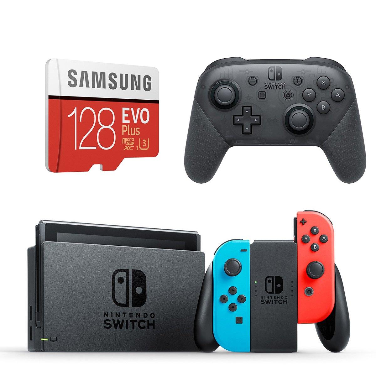 Nintendo Switch Neon Console + Pro Controller + Samsung 128GB MicroSD Card Starter Bundle: $340 AC + Free Shipping
