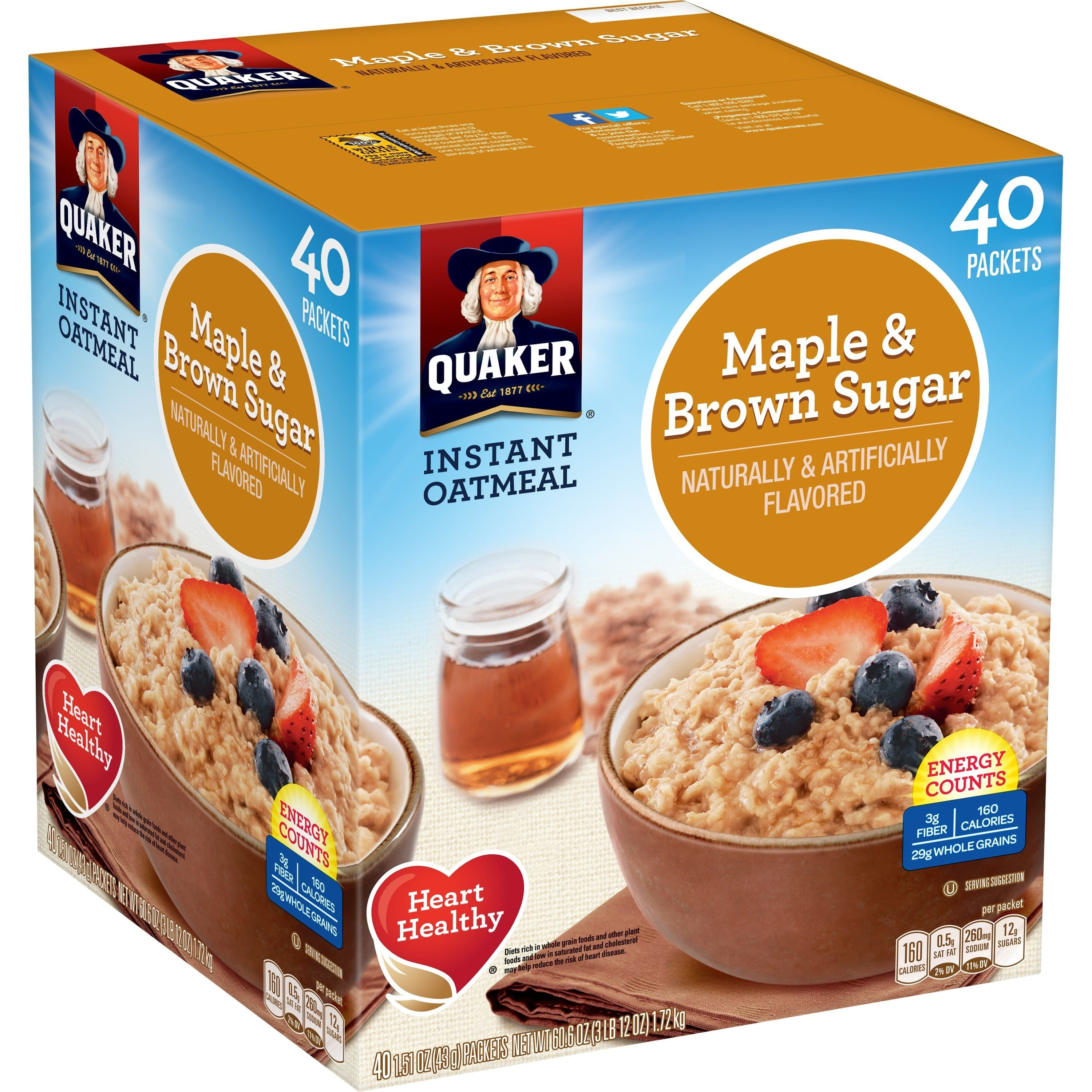 Quaker Instant Oatmeal: Maple (40 Packets) $8 AC / 3 Flavor Variety Pack (52 Packets) $7.90 AC + Free Shipping