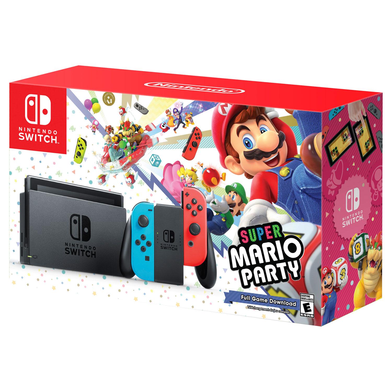 Nintendo Switch 32GB Neon Console Super Mario Party Bundle
