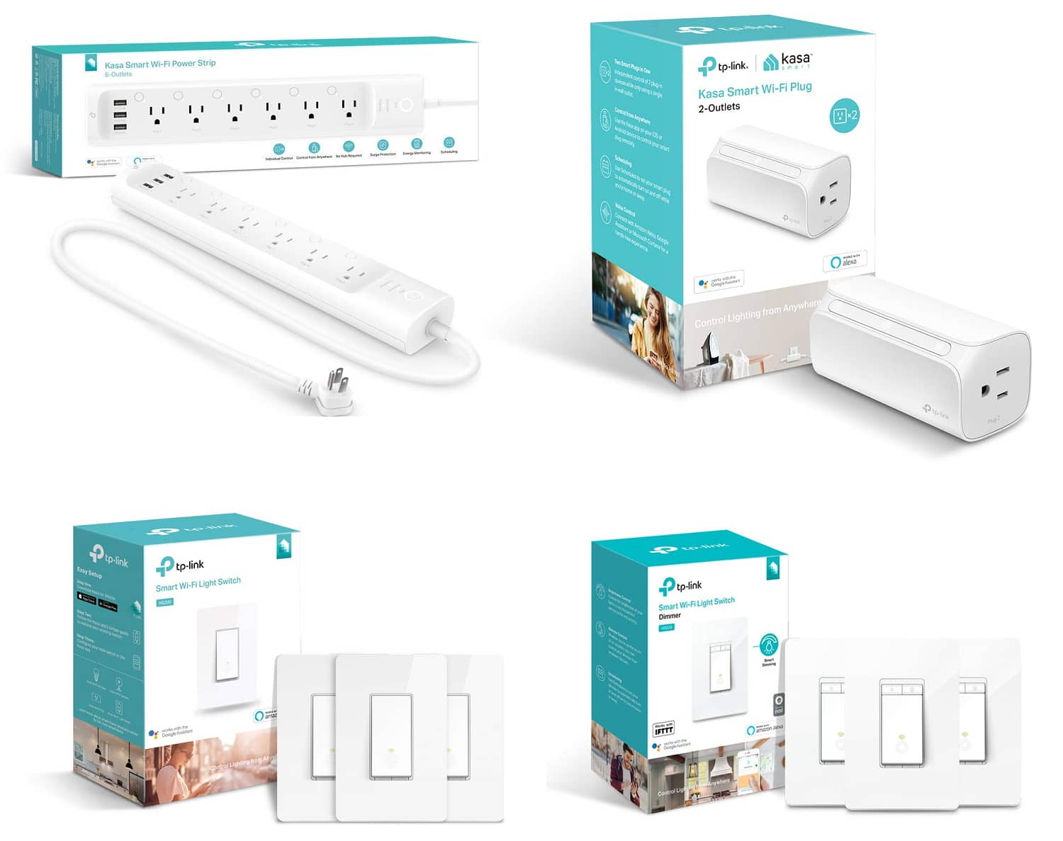 Kasa Smart by TP-Link: WiFi Smart Plugs & Power Strips - Works With Alexa and Google Assistant: Starting at $25 + FSSS