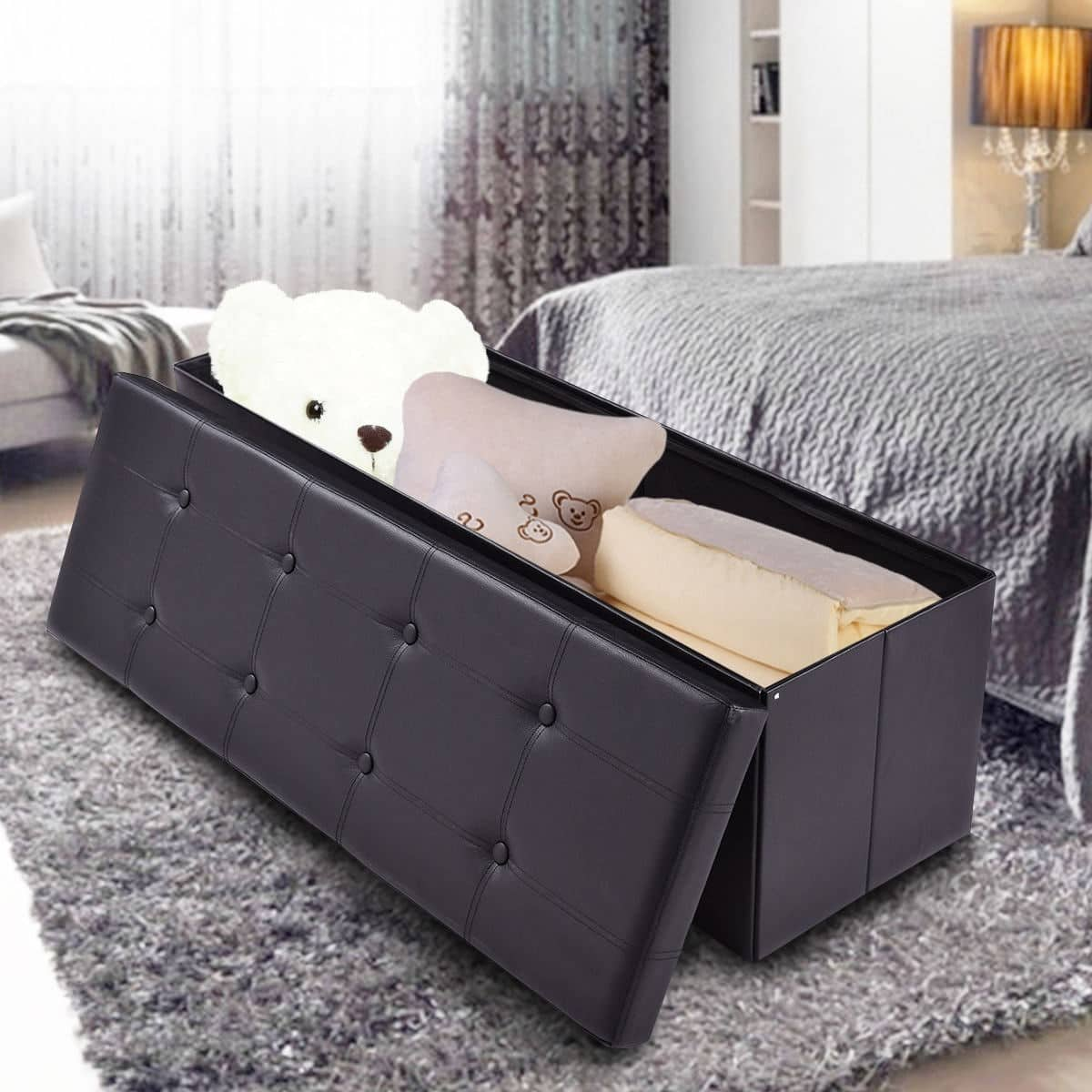 "Costway 45"" Large Folding Ottoman Storage Seat - $39.95 + Free Shipping"