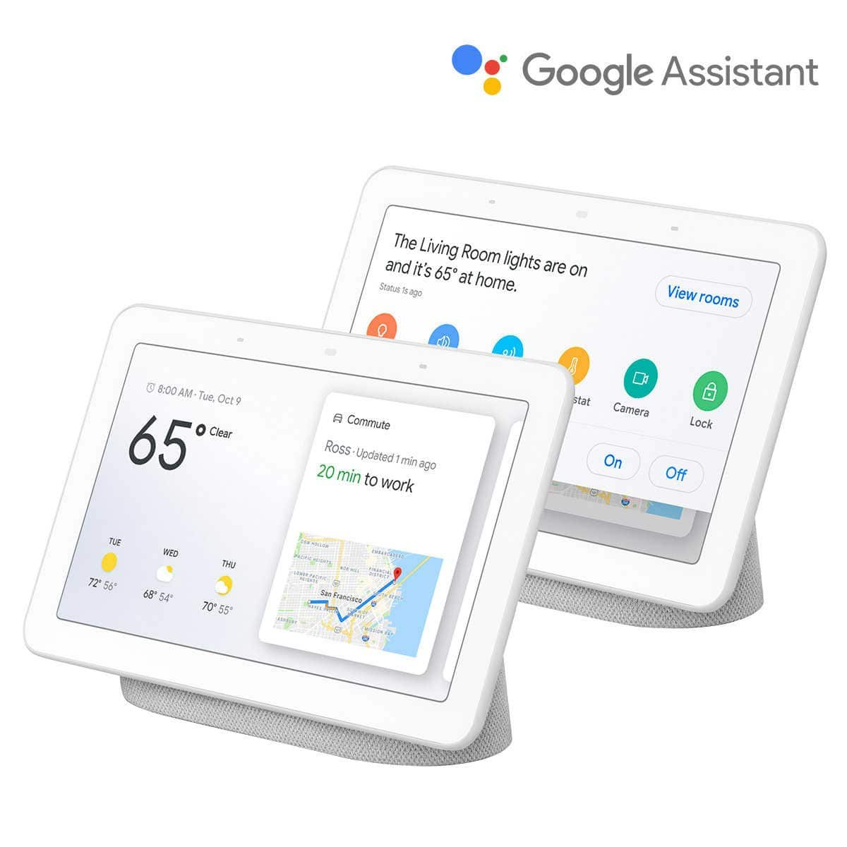 "Google Home Hub 7"" Touchscreen Smart Display Personal Assistant - + FS 2-Pack"