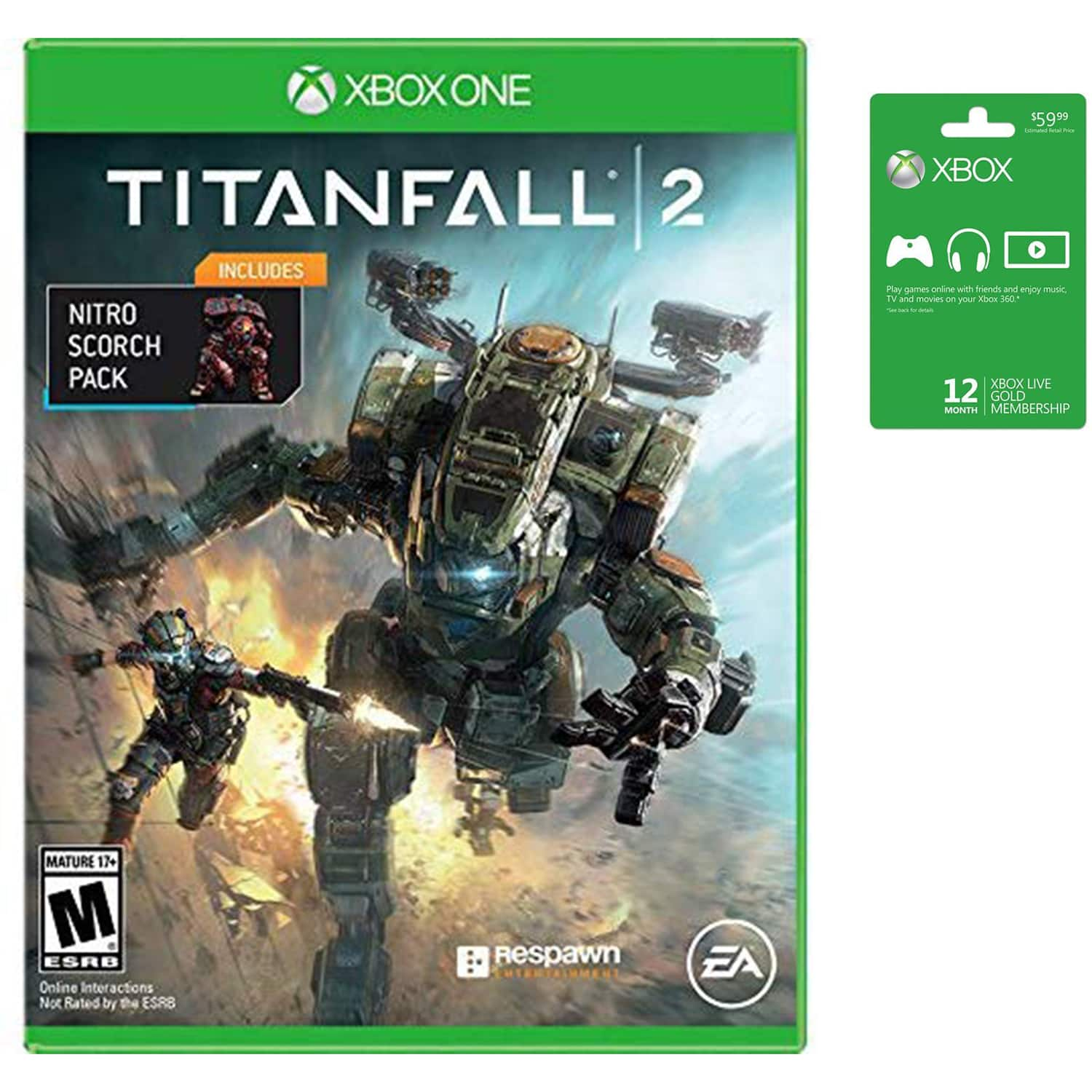 Microsoft Xbox LIVE 12 Month Gold Membership (Physical Card) + Titanfall 2 With Nitro Pack (Physical Game) - $45.99 + Free Shipping