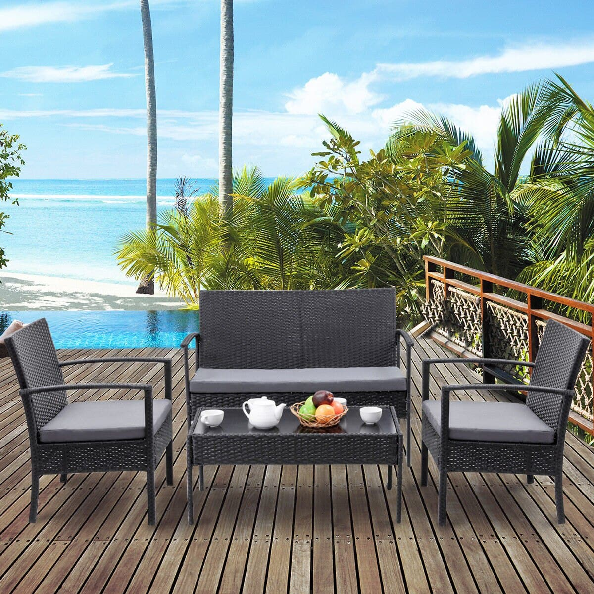 Deal Image & 4-Piece Costway Outdoor Patio Furniture Set - Slickdeals.net