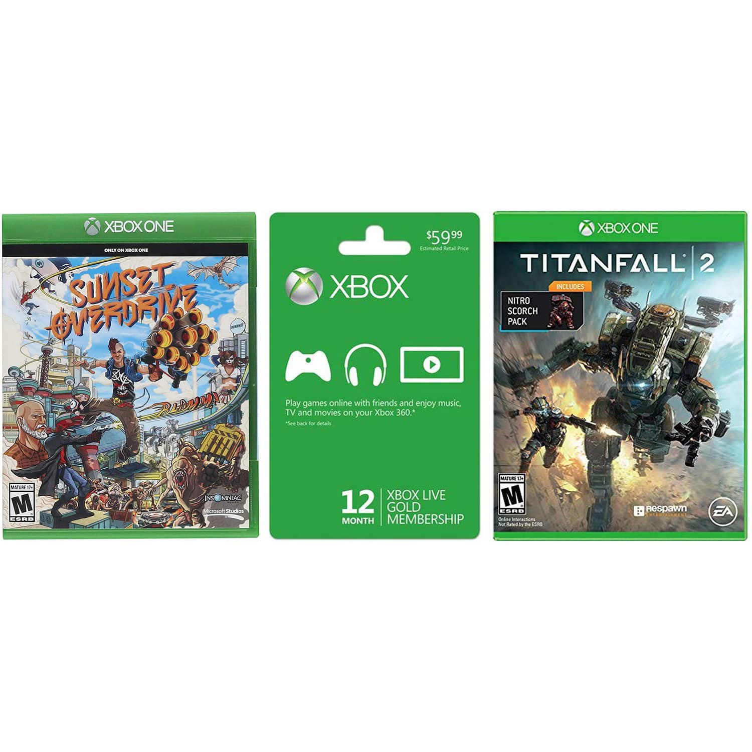 Microsoft Xbox LIVE 12 Month Gold Membership (Physical Card) + Titanfall 2 w/Nitro Pack & Sunset Overdrive - $49.57 + Free Shipping