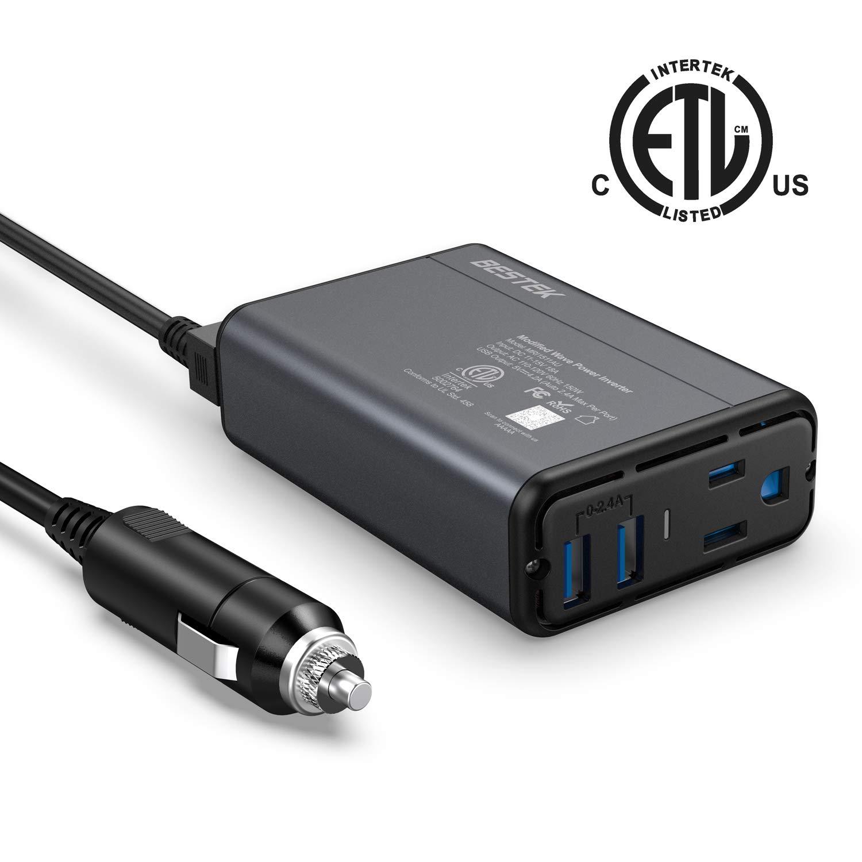 Bestek 150W Power Inverter w/ 4.2A Dual USB Car Adapter (Black/Red) $10.99 + FSSS