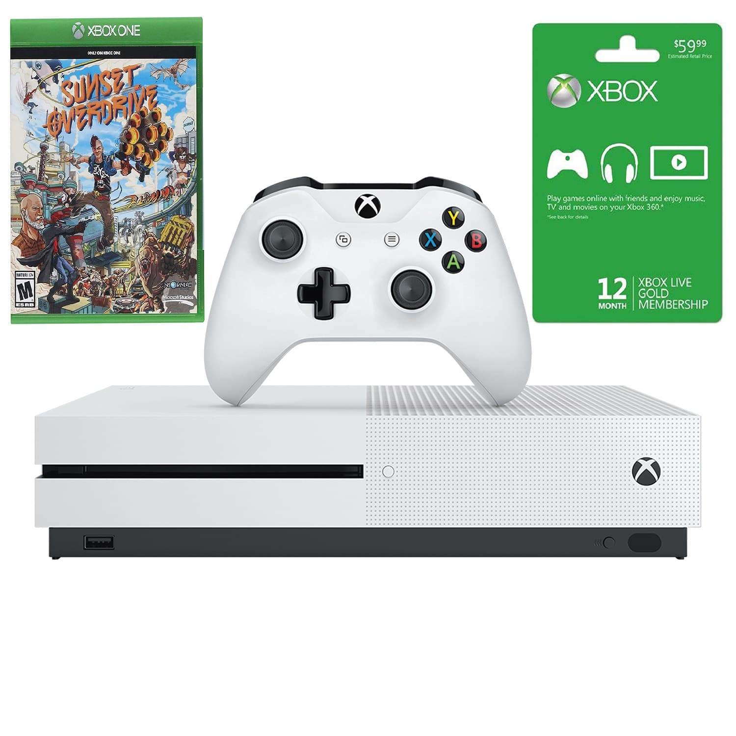 Microsoft Xbox One S 1TB Console + Sunset Overdrive Game + 12 Month Xbox Live Gold Card - $225.25 + Free Shipping