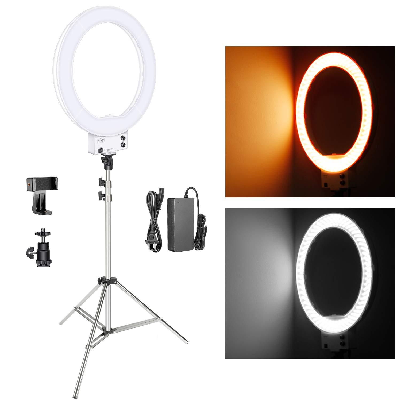 "Neewer 18"" Bi-Color LED Ring Light Kit w/ Stainless Steel Stand (White) - $95.00 AC + FSSS"