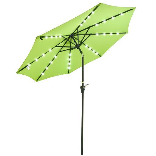 9ft Solar Powered 32 LED Patio Umbrella 8 Ribs Crank & Tilt Market Outdoor Beach - $56.94 + FS