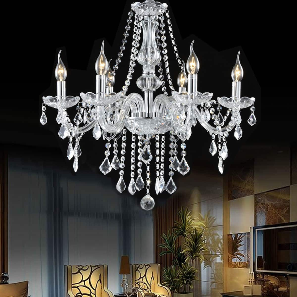 Costway Elegant Crystal Chandelier Ceiling Light - $63.95 + Free Shipping