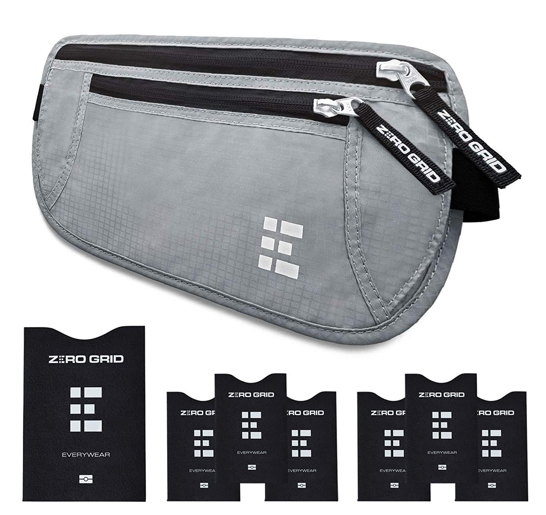 Zero Grid Money Belt w/RFID Blocking - Concealed Travel Wallet