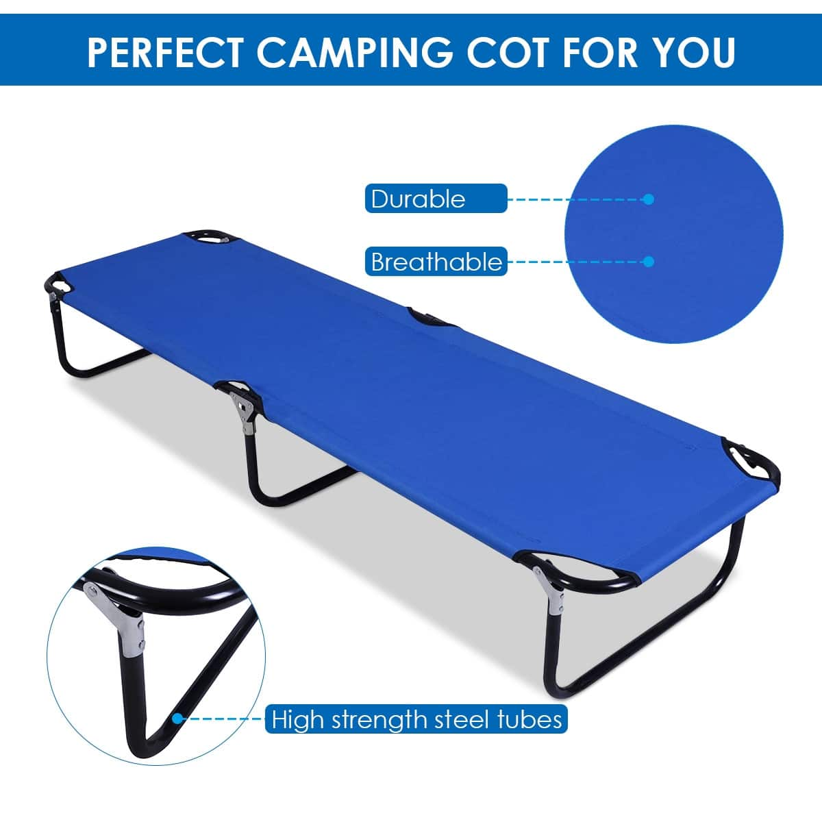 Outdoor Portable Blue Folding Camping Bed - $35.95 + Free Shipping