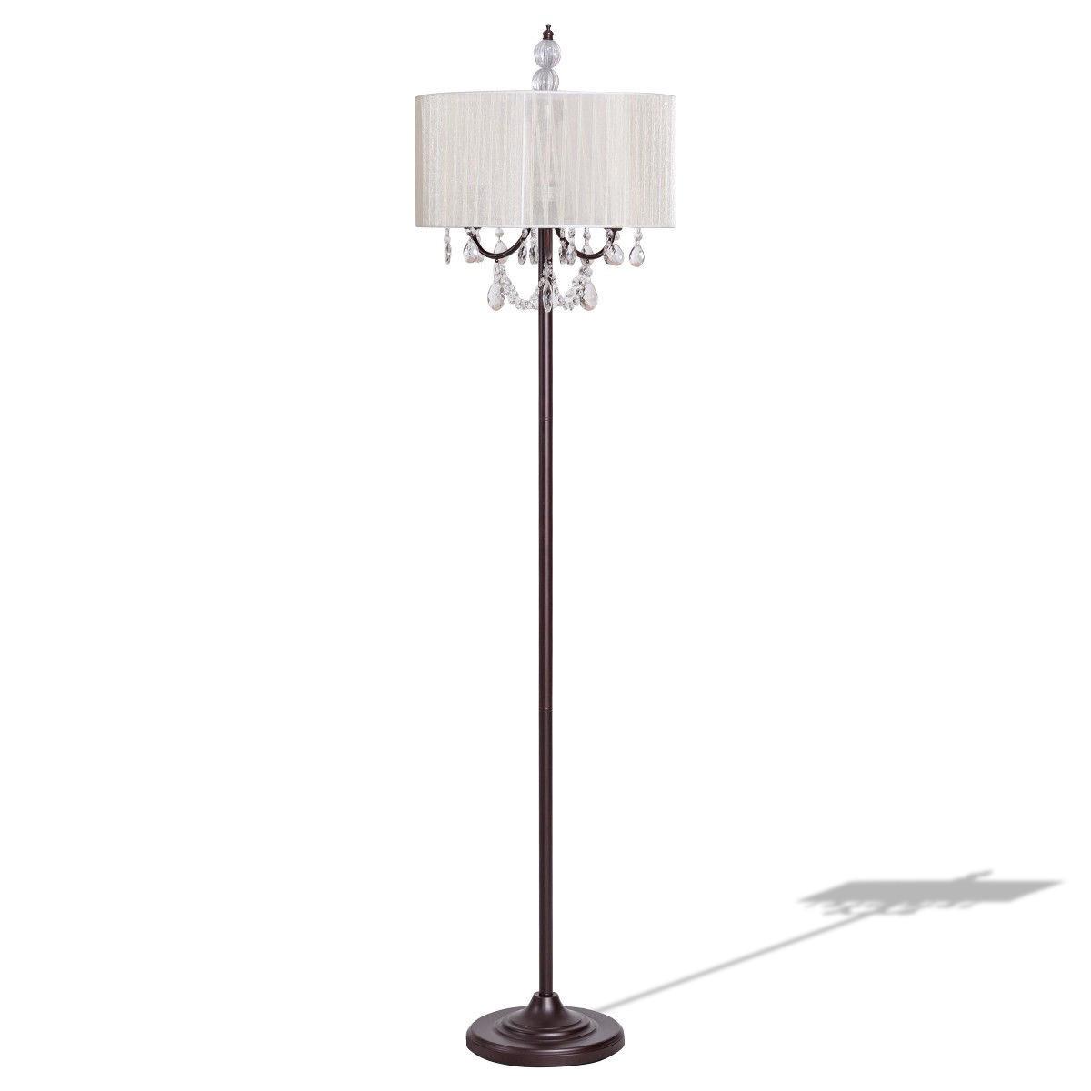 Cosway Elegant Sheer Shade Floor Lamp w/ Hanging Crystal LED Bulbs - $68.95 + Free Shipping