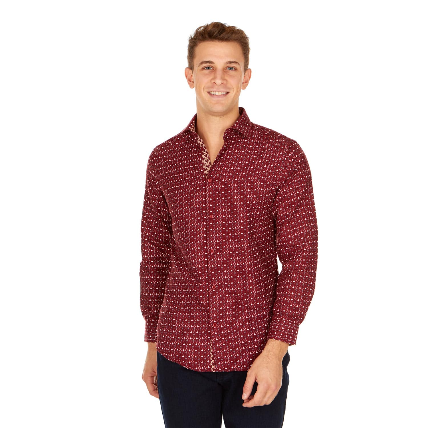Men's Slim Fit Winter Designable Printed Long Sleeve Button Down Shirt - $12.74 + Free Shipping