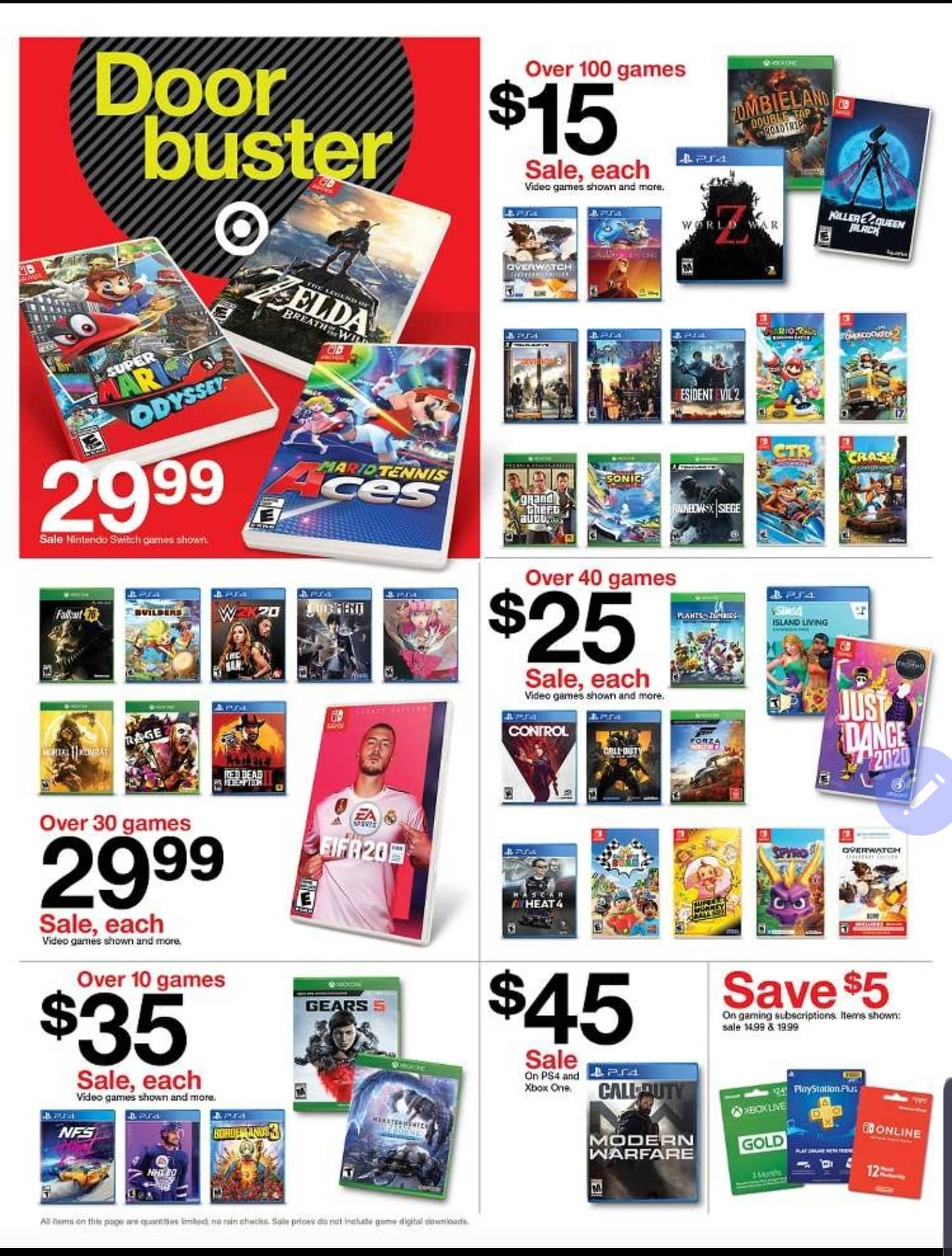 Target BF: Mario Odyssey, BOTW and Mario Tennis Aces for $30, CTR for $15, RE2 $15, Kingdom Hearts III $15 & Many More!