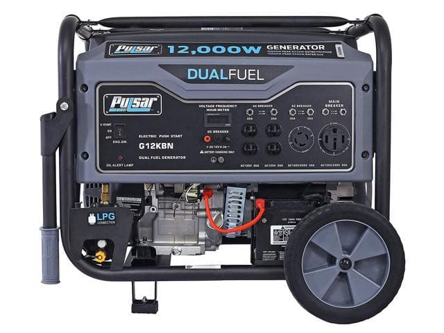Pulsar 12,000W Dual Fuel Portable Generator in Space Gray with Electric Start, G12KBN - $749.99 + FS